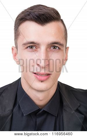 Portrait of young happy smiling business man, isolated over white