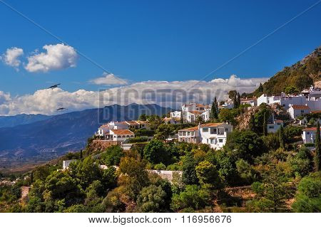 Overview Of Mijas With Mountains Background