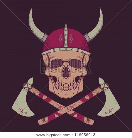 Vector Illustration With Axes And Human Skull Wearing Viking Helmet