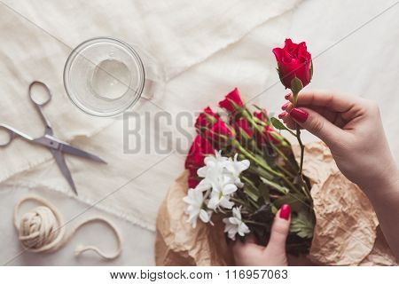 Florist Choosing Roses