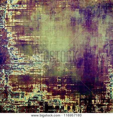 Cracks and stains on a vintage textured background. With different color patterns: brown; white; blue; green; purple (violet)