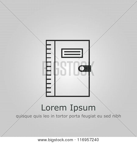 Notebook Icon, On Grey Outline, Dark Outline, Example Text