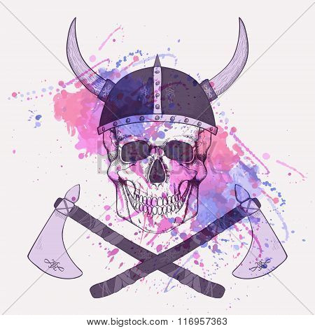 Vector Illustration With Watercolor Splash, Axes And Human Skull Wearing Viking Helmet