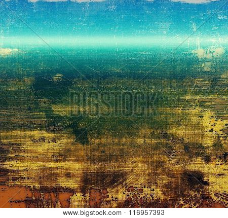 Abstract blank grunge background, old texture with stains and different color patterns: yellow (beige); brown; blue; green; cyan