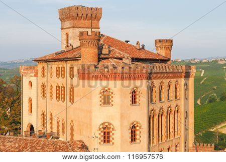 Barolo Castle, Piedmont, Northern Italy, With Golden Sunset Light.