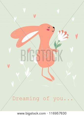 Bunny with flower card
