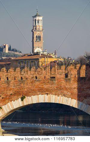 Castelvecchio Bridge And Torre Dei Lamberti