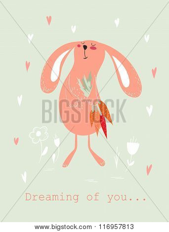 Bunny with carrots card