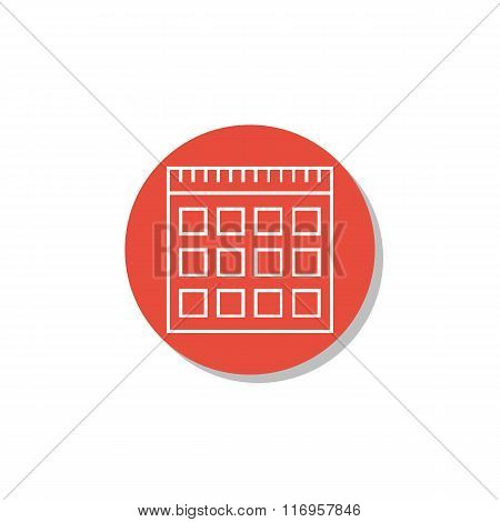 Notebook Icon, On White Background, Red Circle Border, White Outline