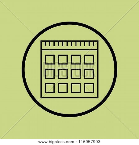 Notebook Icon, On Green Background, Circle Border, Dark Outline