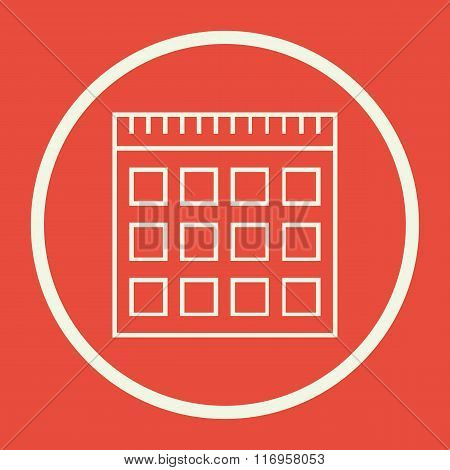 Notebook Icon, On Red Background, White Circle Border, White Outline