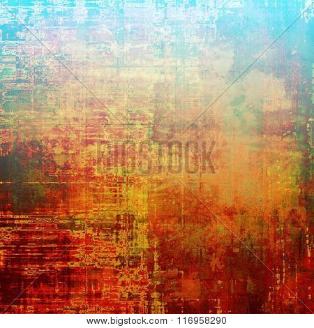 Old vintage background with retro-style elements and different color patterns: yellow (beige); brown; red (orange); blue; green