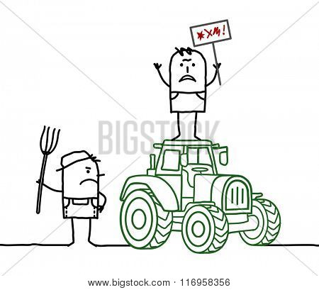 vector cartoon angry farmers with tractor