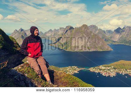 hike in Lofoten,Norway