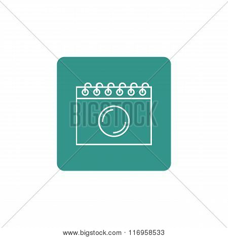 Notebook Icon, On White Background, Rounded Rectangle Border, White Outline