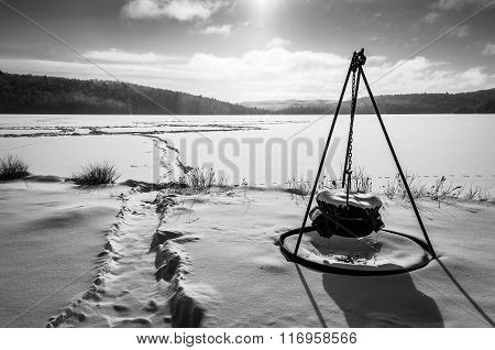 Morning Winter Scene On A Lake