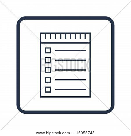 Notebook Icon, On White Background, Rounded Rectangle Border, Blue Outline