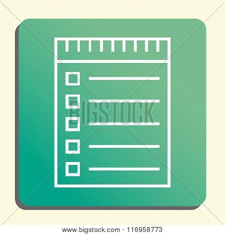 Notebook Icon, On Green Rounded Rectangle Background, White Outline