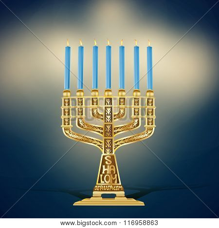 Golden Menorah With Seven Candles