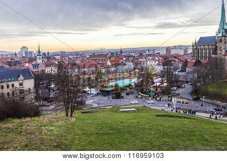 Famous Christkindl Market In Erfurt, Germany