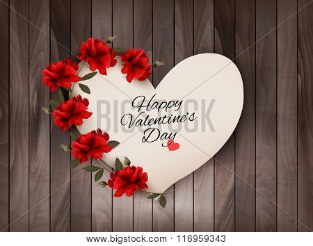 Happy Valentine's Day background Retro greeting card with red roses. Vector illustration.