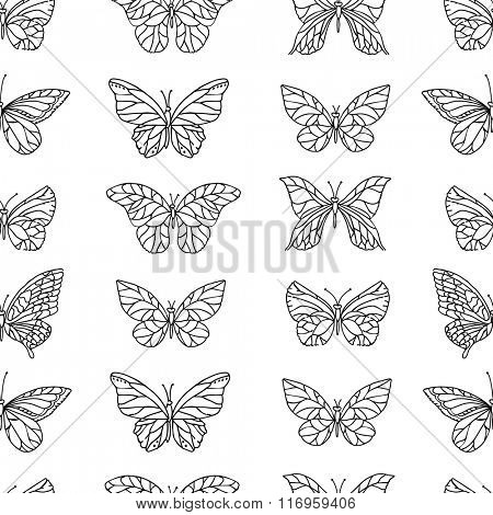 Seamless pattern with butterflies.  Black and white. Endless texture for your design, announcements, postcards, posters.