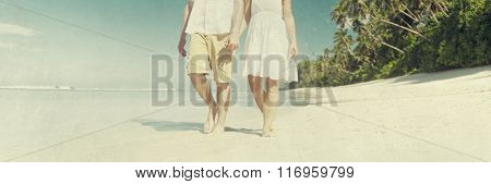 Couple Honeymoon Christmas Hat Tropical Beach Concept