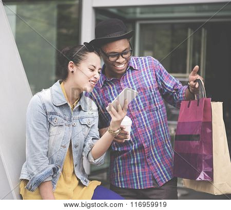 Shopaholic Shopping Commerce Consumer Couple Concept
