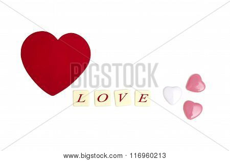 """Heart Shaped  And Words """"love"""" On Cubes"""
