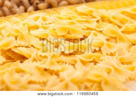 Assortment Of Italian Pasta, Four Different Varieties Separated With Curly Spaghetti.