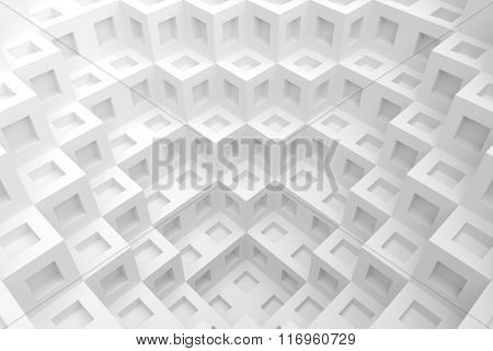 3d White Cube Background. Modern Architecture Design