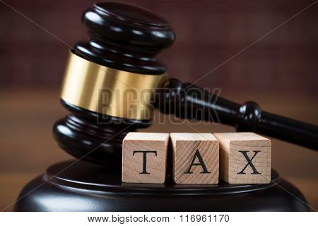 Tax Wooden Blocks On Mallet In Courtroom