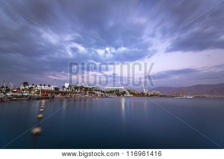 Beautiful Sunset Over Red Sea In Eilat, Israel