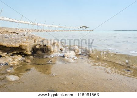 Salty Shore And Dead Sea Promenade, Israel