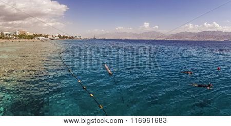 Coral Beach Nature Reserve Over Red Sea In Eilat, Israel
