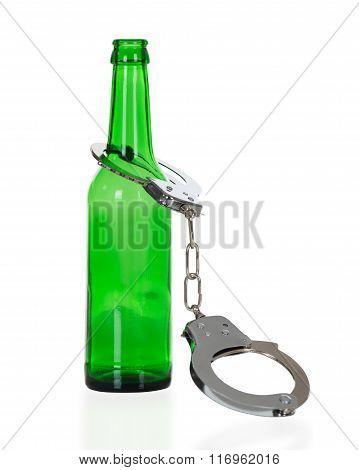 Handcuffs In Green Beer Bottle