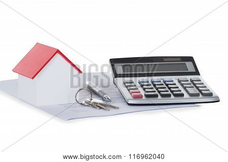 Calculator With House Model And Documents