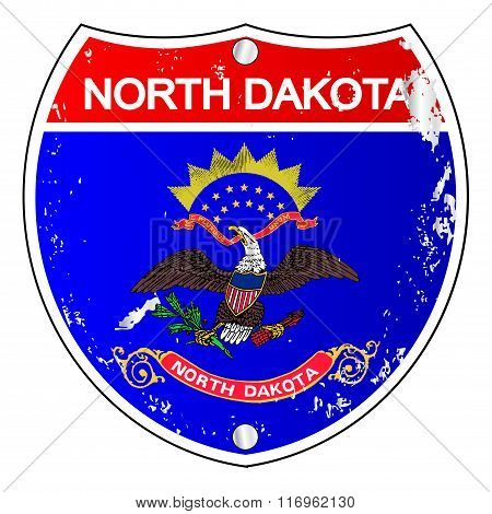 North Dakota Flag Icons As Interstate Sign