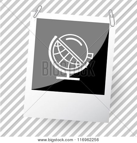 globe and loupe. Photoframe. Raster icon.