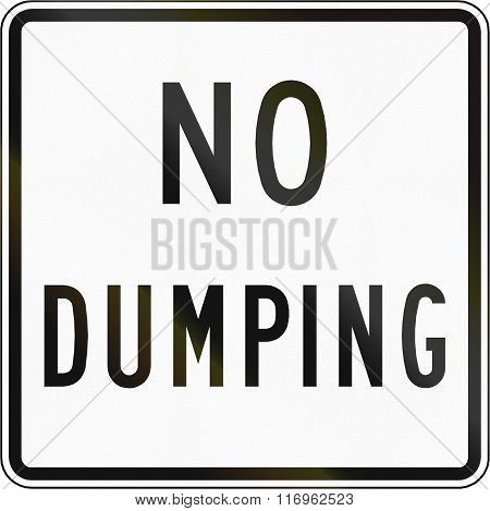 Road Sign Used In The Us State Of Virginia - No Dumping