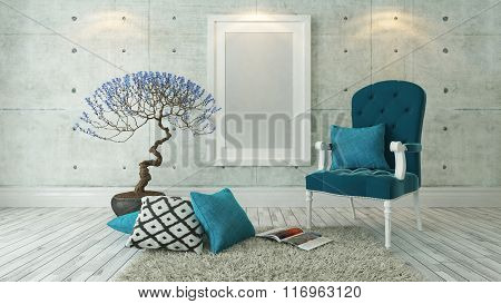 White Picture Frames With Blue Bergere And Concrete Wall, Background, Template Design