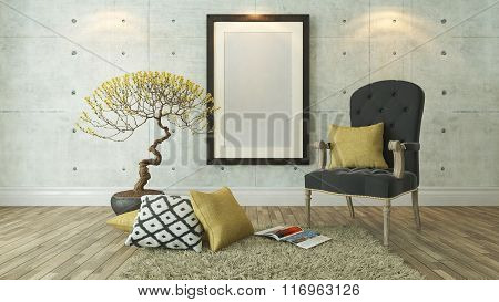 Black Picture Frames With Gray Bergere And Yellow Pillow Background, Template Design