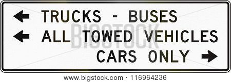 Road Sign Used In The Us State Of Virginia - Directions For Vehicle Types