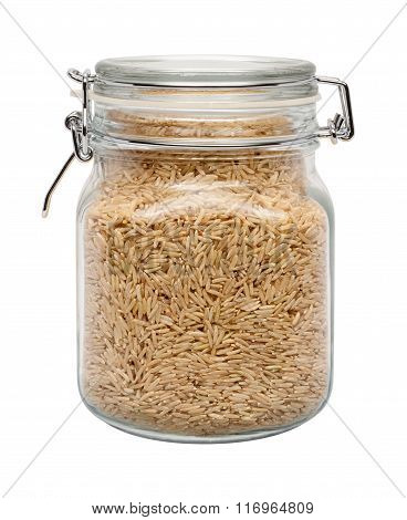 Brown Basmati Wild Rice In A Glass Canister