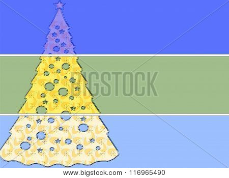 Abstract Christmas Tree on a three tier striped background