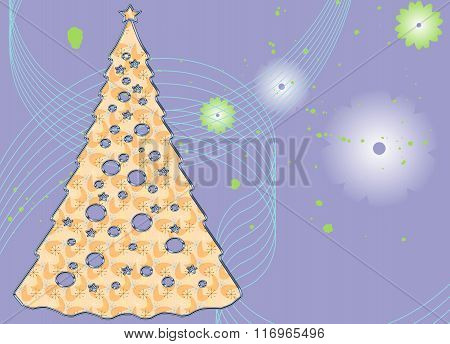 Abstract Christmas Tree on a whimsical background