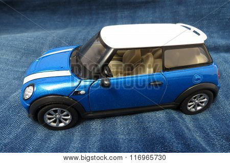 Light Blue Mini Cooper Car (2013 Version)