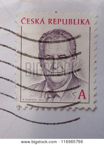 Milos Zeman Stamp From Czech Republic