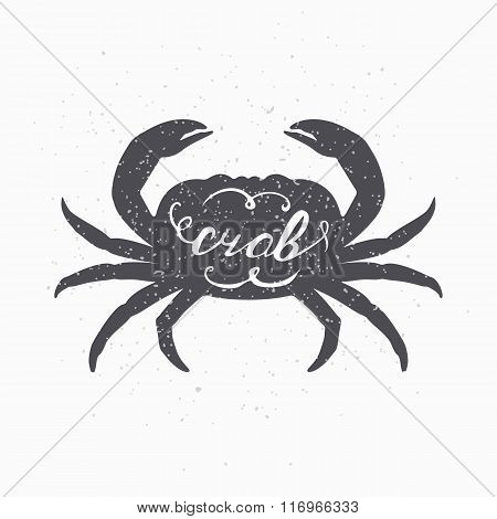 Hand drawn crab hipster silhouette. Handwritten text. Seafood shop template