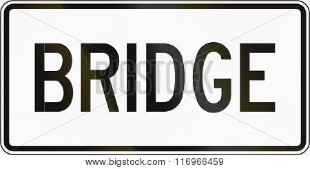 Road Sign Used In The Us State Of Virginia - Bridge